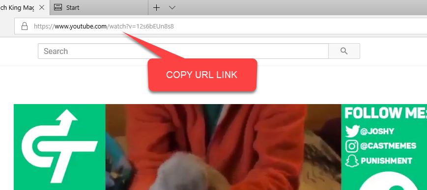 copy youtube url link